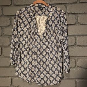 Lucky Brand Geometric Design Long Sleeve Blouse